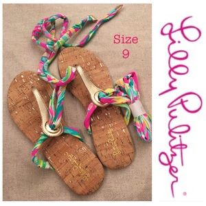 Lilly Pulitzer Harbor Sandal Lace Up Shady Lady 9